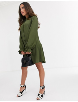 Missguided Shirt Dress In Khaki by Missguided's