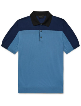 Slim Fit Colour Block Knitted Virgin Wool Polo Shirt by Prada