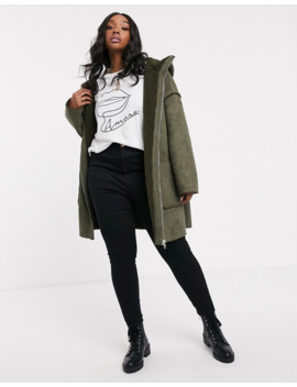Asos Design Curve Shearling Parka With Seam Detail In Khaki by Asos Design