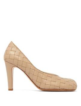 Intrecciato Square Toe Leather Pumps by Bottega Veneta