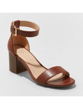 Women's Kianta Faux Leather Mid Block Heel Sandal Pumps   A New Day™ Brown by A New Day