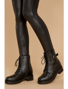 They Say Black Lace Up Combat Boots by Qupid