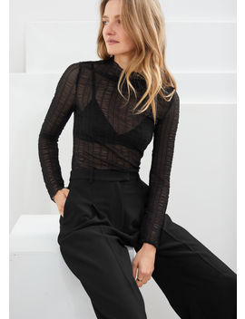 Sheer Fitted Smocked Top by & Other Stories