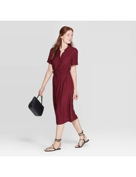 Women's Short Sleeve Collared Midi Shirtdress   A New Day™ Burgundy by A New Day