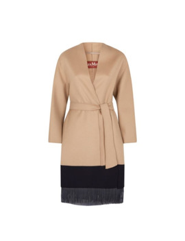 Leather Fringed Coat by Max Mara