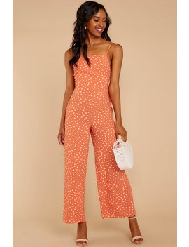 About Last Night Melon Polka Dot Jumpsuit by Sage The Label