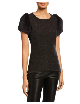 Metallic Cashmere Crewneck Fur Short Sleeve Sweater by Neiman Marcus Cashmere Collection