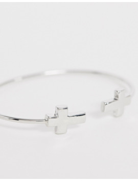 Design B Cross Detail Bangle In Silver by Design B