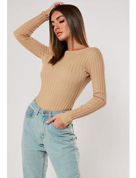 Camel Rib Scoop Back Bodysuit by Missguided