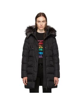 Black Down & Fur Aprhoti Coat by Moncler
