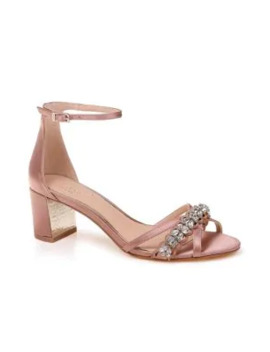 Giona Embellished Satin Sandals by Jewel Badgley Mischka