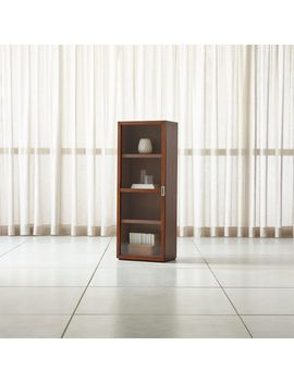 Aspect Walnut Modular Bookcase With Glass Door by Crate&Barrel