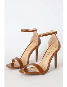 Lynnie Cognac Ankle Strap Heels by Lulus