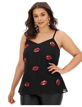Lips Embellished Strappy Cami Top by Simply Be
