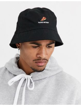 Asos Design Black Cotton Bucket Hat With Booked And Busy Embroidery by Asos Design
