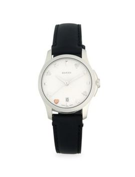 Stainlees Steel Leather Strap Watch by Gucci
