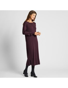 Women Merino Wool Blend Boat Neck Long Sleeved Dress by Uniqlo