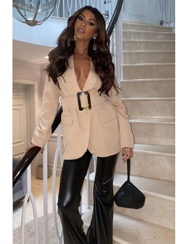 Nude Belted Tailored Blazer by In The Style