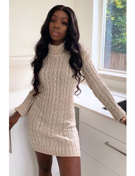 Stone Roll Neck Cable Knitted Dress by In The Style