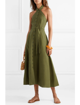 +-net-sustain-rosemary-tencel-and-linen-blend-halterneck-maxi-dress by mara-hoffman