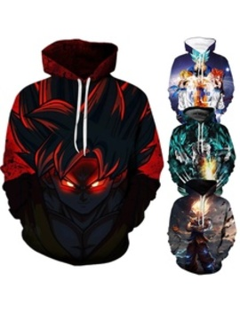 Man Fashion 3 D Dragon Ball Printing Anime Pattern Hooded Long Sleeves Hoodies by Wish