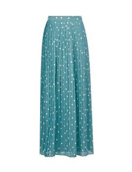 **Vila Teal Spot Pleated Maxi Skirt by Dorothy Perkins