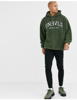 Asos Design Oversized Hoodie In Borg With Varsity Style Embroidery In Green by Asos Design