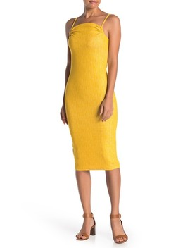 Shirred Square Neck Knit Dress by Bcb Generation