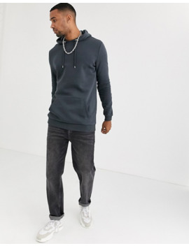 Asos Design Tall Longline Hoodie In Washed Black by Asos Design