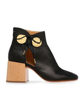 Cutout Embellished Leather Ankle Boots by Mm6 Maison Margiela