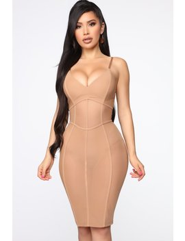 Don't Mesh With Me Midi Dress   Mocha by Fashion Nova