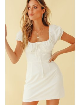 Vg Coming To Paris Tie Front Mini Dress // White by Vergegirl
