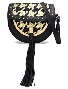 embellished-matte-and-metallic-woven-leather-shoulder-bag by balmain