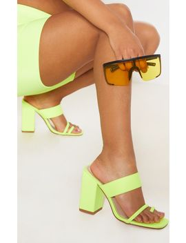 Neon Yellow Chunky Block Heel Toe Loop Sandal by Prettylittlething