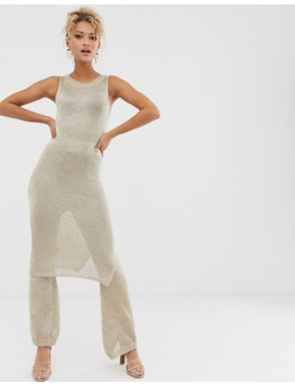 Never Fully Dressed Metallic Knitted Flare Pant Co Ord In Light Gold by Never Fully Dressed