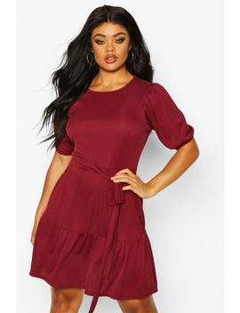 Plus Soft Rib Puff Sleeve Belted Skater Dress by Boohoo
