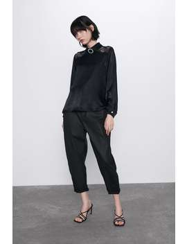 Combination Satin Effect Blouse by Zara