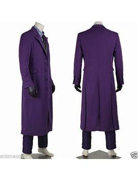 Batman: The Dark Knight Joker Cosplay Costume Purple Long Wool Trench Coat by Ebay Seller