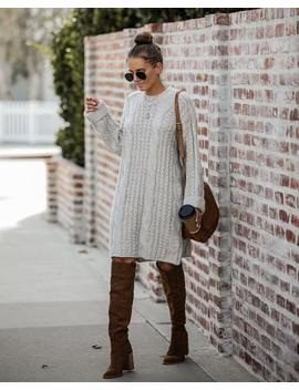 Prancer Cable Knit Sweater Dress   Taupe by Vici