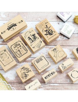 Vintage Coffee Shop Series Wood Stamp Diy Craft Wooden Rubber Stamps For Scrapbooking Stationery Scrapbooking Standard Stamp by Ali Express.Com