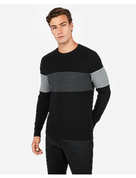 Crew Neck Color Block Stripe Sweater by Express