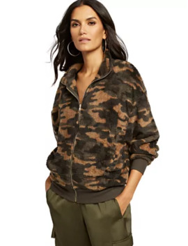Camo Sherpa Zip Front Jacket by New York & Company