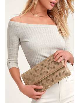 Crowd Pleaser Dark Blush Studded Clutch by Lulus