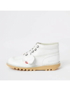 Kickers White Hi Classic Boots by River Island