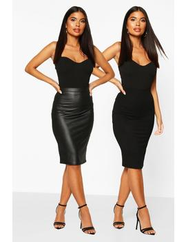 Petite 2 Pack Leather Look And Jersey Midi Skirt by Boohoo