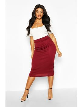Plus Rib Knit Midi Skirt by Boohoo