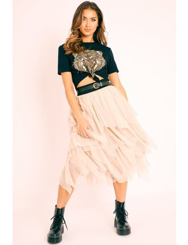 Stone Layered Tulle Midi Skirt   Laveta by Rebellious Fashion