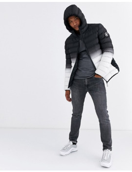 Good For Nothing Hooded Puffer Jacket In Gradient Black by Good For Nothing