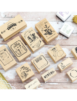 Xinaher Vintage Coffee Shop Stamp Diy Wooden Rubber Stamps For Scrapbooking Stationery Scrapbooking Standard Stamp by Ali Express.Com