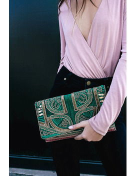 Bead The Best Green Velvet Beaded Clutch by Lulus